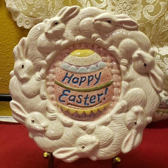 Vtg Bunny Rabbit Plate Happy Easter Egg Omnibus